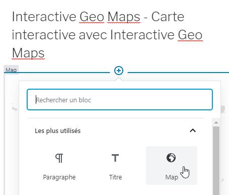 Capture d'écran de la sélection du bloc Maps lors de l'édition d'une page